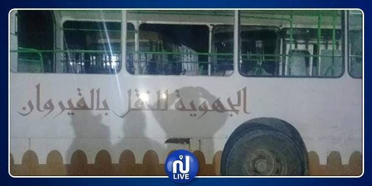 تخريب حافلة تابعة للشركة الجهوية للنقل بالقيروان وتعنيف سائقها(صور)