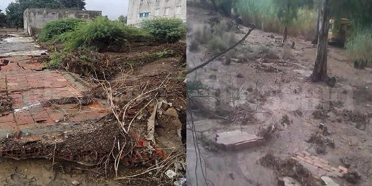 منزل بورقيبة: انهيار جدران سور المدرسة الاعدادية بأم هاني (صور)