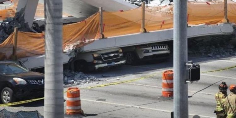 أمريكا: مقتل 4 أشخاص في انهيار جسر بميامي (صور+فيديو)