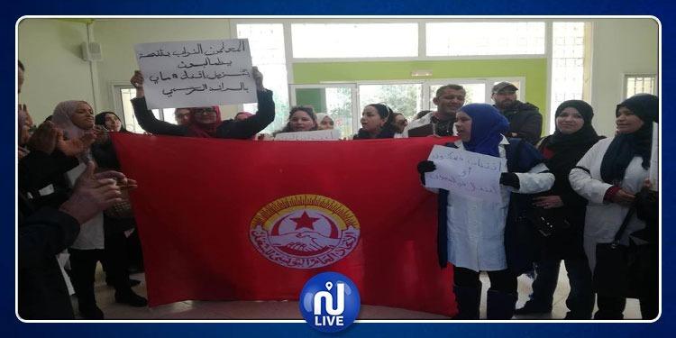 قفصة: إحتجاج للأساتذة والمعلمين النواب
