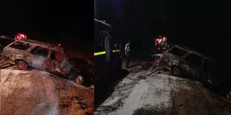حادث مرور يسفر عن 3 إصابات وإحتراق سيّارة في منطقة الشوشة ببن قردان