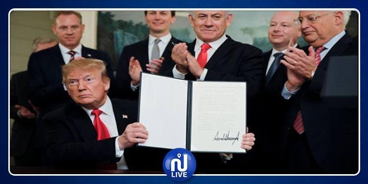 الرئيس الأمريكي يوقّع سيادة إسرائيل على الجولان