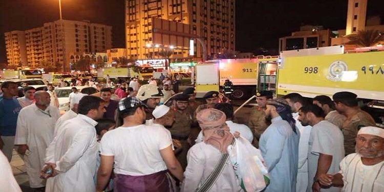 يقيم به 600 حاج: إخلاء فندق في مكة بسبب حريق
