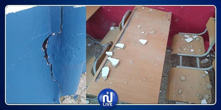 سقوط جزء من سقف مدرسة إبتدائية بقليبية (صور)