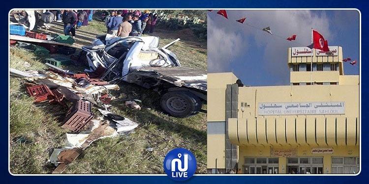 سوسة : ايواء ثلاثة مصابين في حادث السبالة بمستشفى سهلول