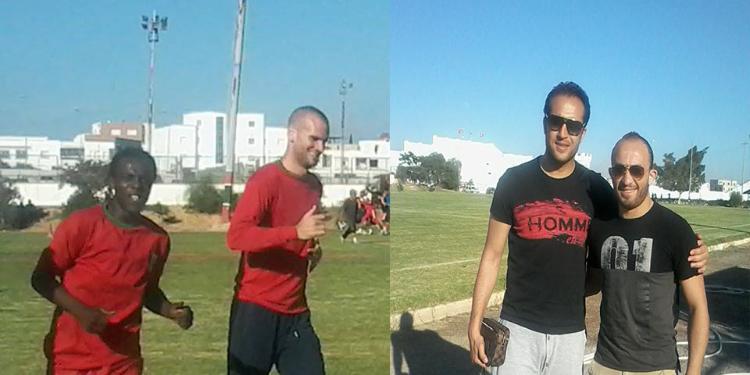 وجدي بوعزّي و المدافع وليد الهيشري في الملعب التونسي