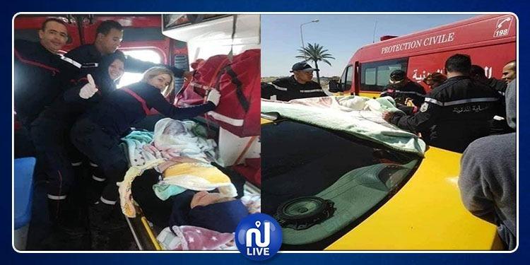 فريق الاسعاف للحماية المدنية بقابس يساعد حاملا على وضع مولودها